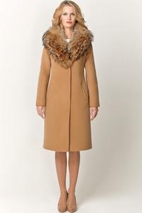 Зимнее пальто из шерсти с енотом арт.701